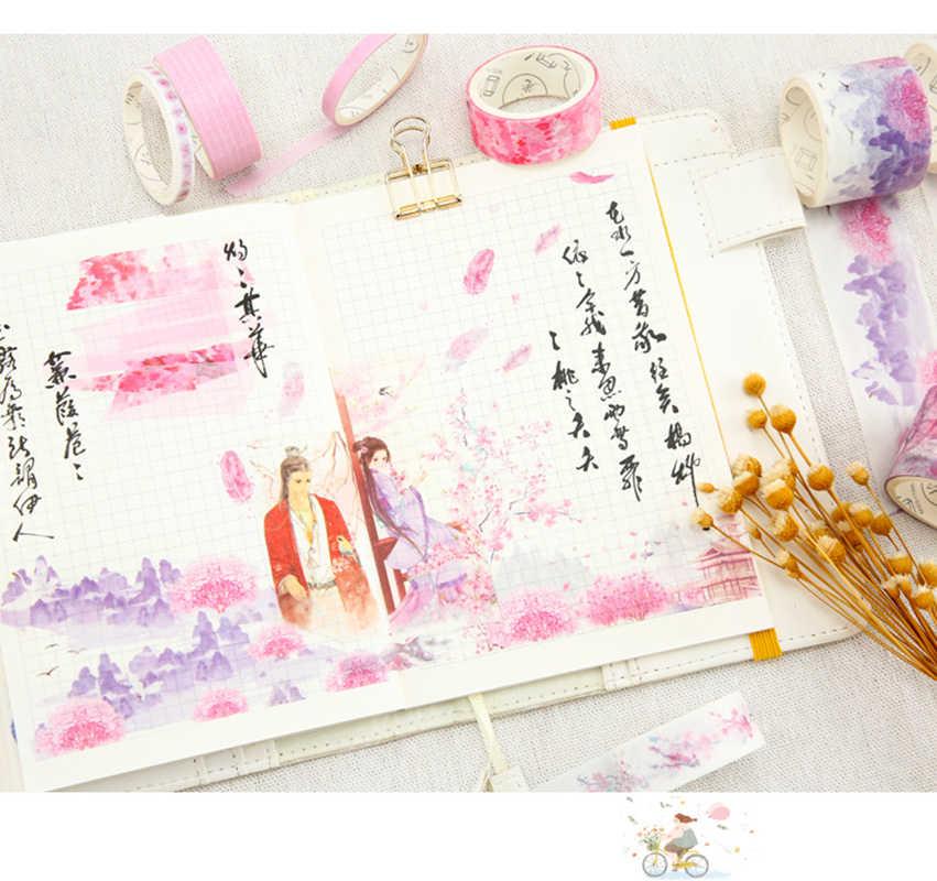 8 sztuk/paczka wzornictwo chińskie Wistaria las Sakura kot japonia zestaw taśm Washi klej taśma DIY do scrapbookingu etykieta samoprzylepna taśma maskująca
