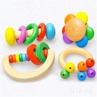 Chocalho montessori educacional brinquedo de madeira 3d quebra cabeça de madeira sensorial matemática jigsaw treinamento cerebral aprendizagem intelectual precoce|  -