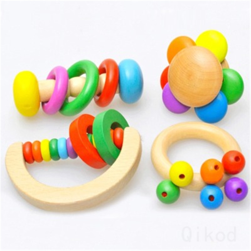 Rattle Montessori Educational Wooden Toy 3D Puzzle Wooden Sensory Mathematics Jigsaw Brain Training Early Intellectual Learning