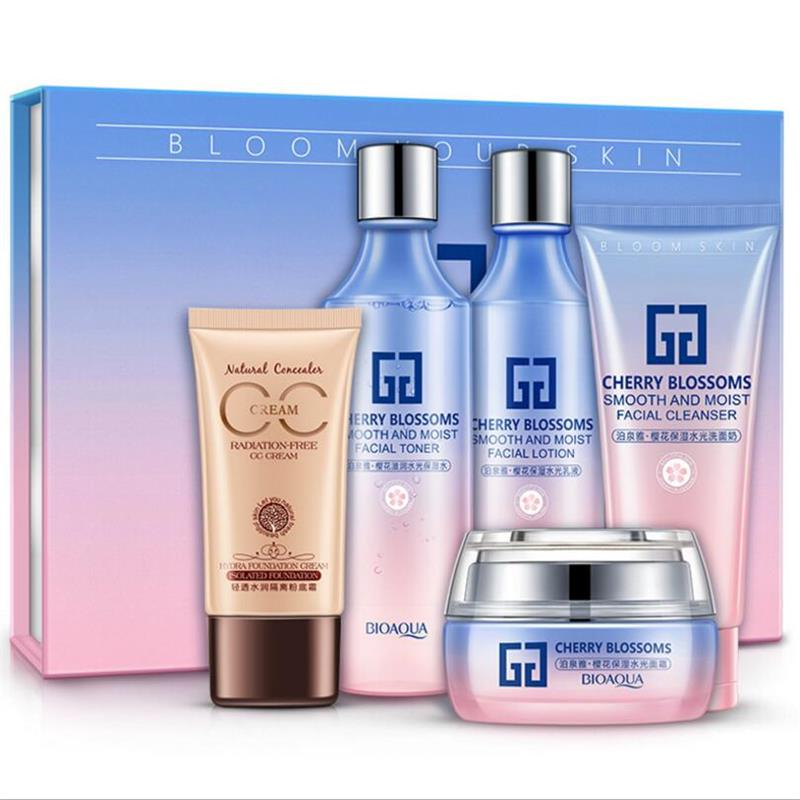 BIOAQUA Cherry Blossoms Cosmetic Skin Care Products Suit Hydrating Cleansing Lotion Toner BB Cream Face Skin Care Set 5Pcs/Set
