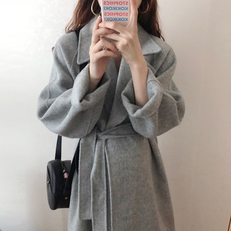 H7ee99cf2c50d4dba8ec5d525055c36b2M Winter Fashion Coats Women Wool-blend Coat Lazy Oaf Long Chunky Warm Coat Western Style Fitted Waist Lace-up Loose Coat