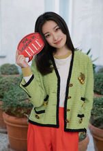 Autumn Coat 2019 with Apple Green Small Fragrant Tweed V Collar Temperament Famous Prostitute Jackets Woman