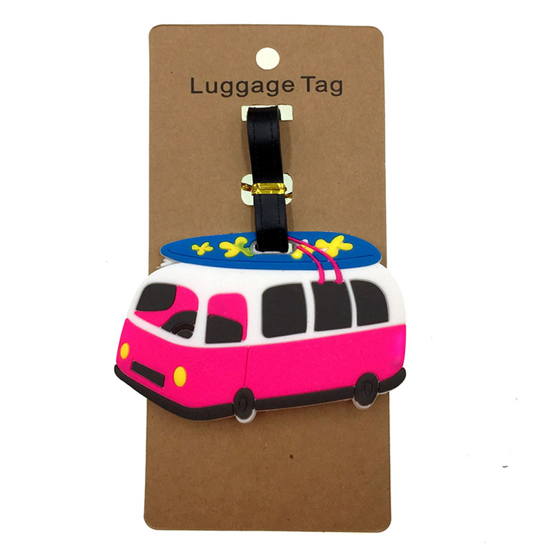 Cartoon Car Luggage Tags Silica Gel Suitcase Kawaii Women ID Addres Holder Baggage Boarding Portable Pack Travel Accessories