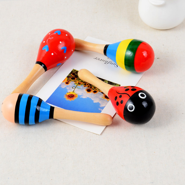 New 11.5cm Wooden Sand Hammer Rattle Cartoon Sand Ball Infant Baby Exercise Listening Toy Vocal Toddler Musical Educational Toys