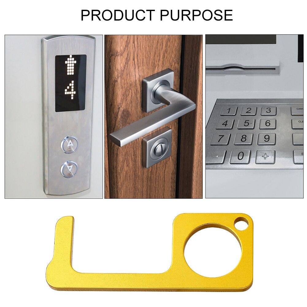 4 Pcs No-Touch Door Opener Door-Opener Assistant Elevator-Door-Handle Hygiene No-Touch Key-Door Contactless Hand-Alloy