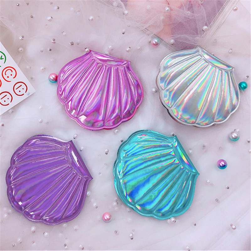 2019 Portable New Laser Cute Shell Makeup Mirror Rainbow Double Sided Mirror Folding Pocket Cosmetic Mirrors Compact Maquillaje