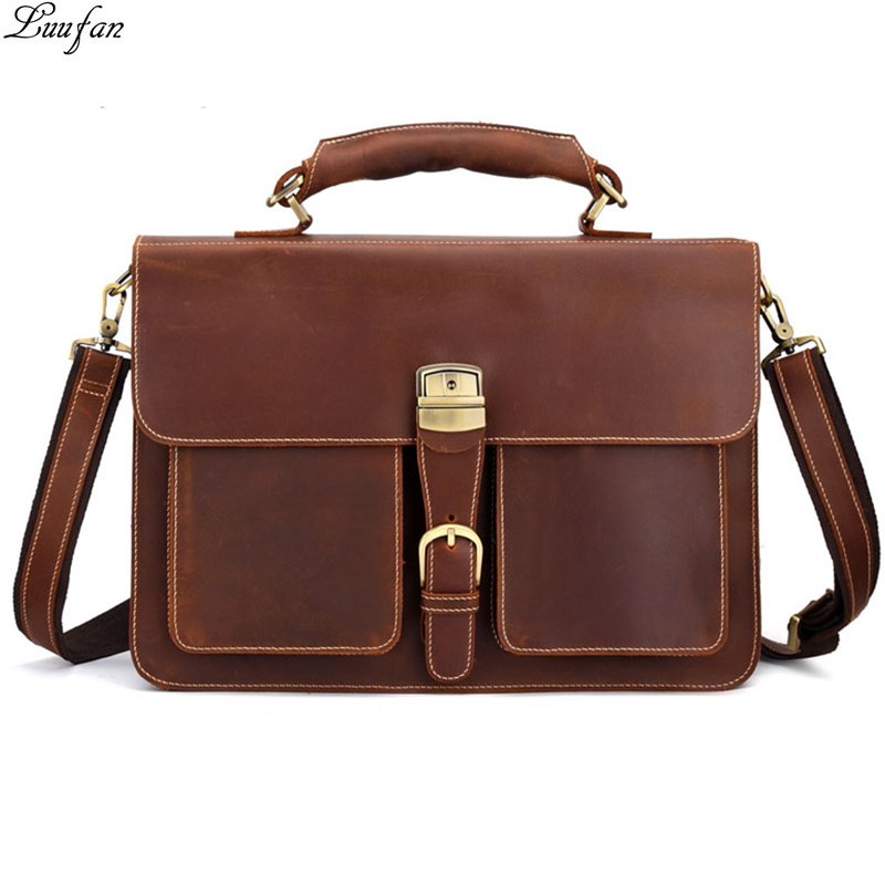 Men Briefcase Tote Laptop-Bag Messenger-Bag Computer Retro Crazy Large-Capacity 16inch