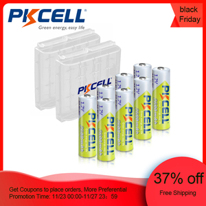 8pcs PKCELL Battery NIMH AA 2600Mah 1.2V 2A Ni-Mh aa Rechargeable Batteries AA Bateria Baterias + 2pcs Battery Hold Case Boxes