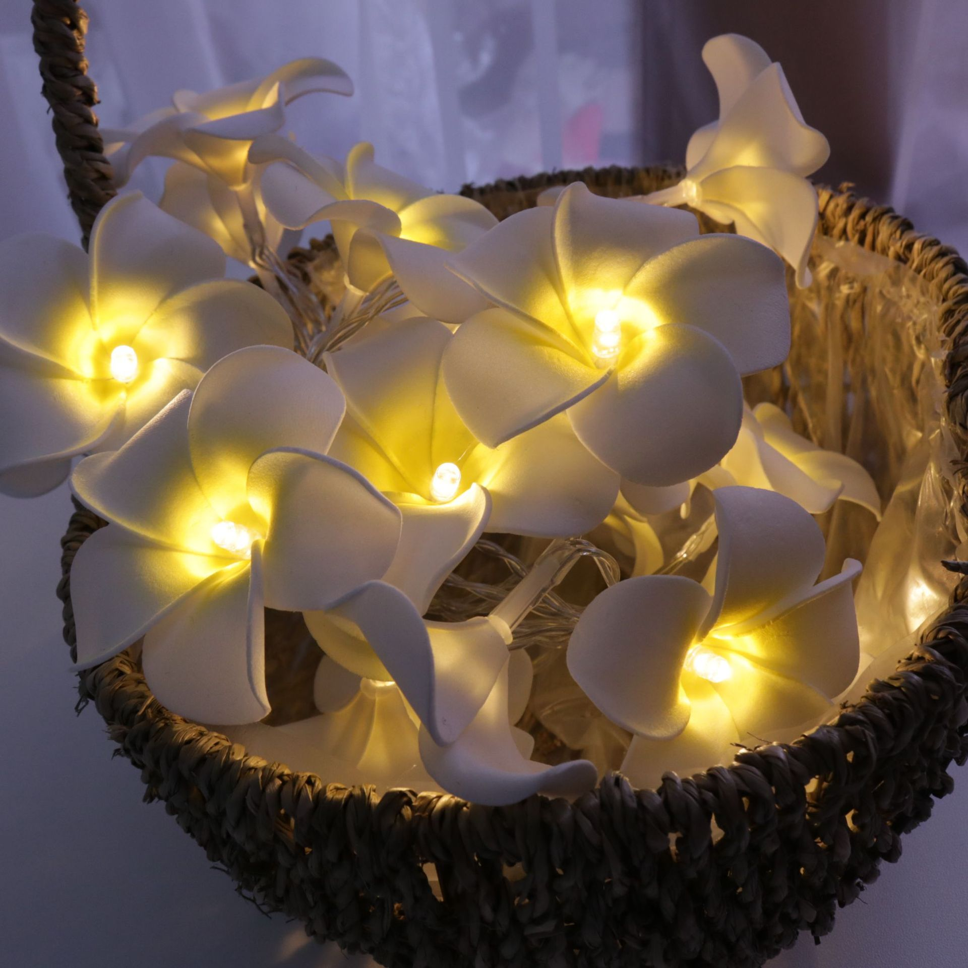 New Years Fairy Light String Light Plumeria Flower Valentine's Day Wedding Holiday Party LED Light Bedroom Garland Decoration