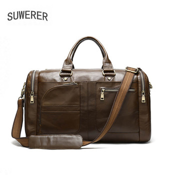 SUWERER Genuine Leather men bag Large capacity mens travel bag, real cowhide hand business leather