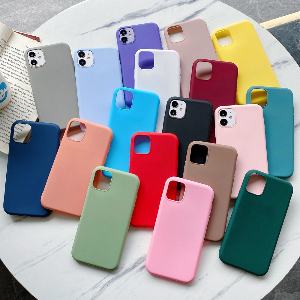 Case For iPhone 12 Pro Candy Color for iPhone 11 12 Pro Max XR 7 8 Plus 6s 6 SE 5S Phone Case Silicone Soft TPU Protective Cover