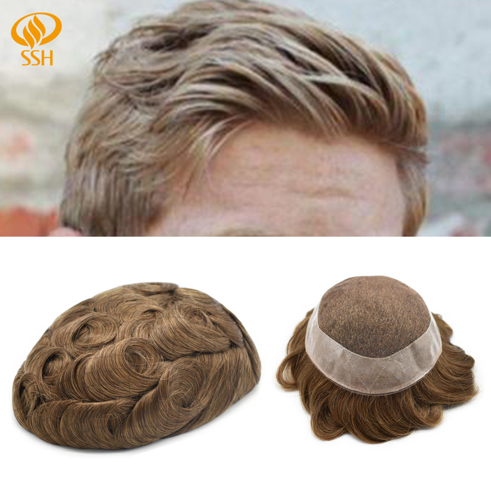 SSH Remy Hair French Lace Front Mens Toupee/Hairpiece Poly Hair Replacement PU Around Wigs