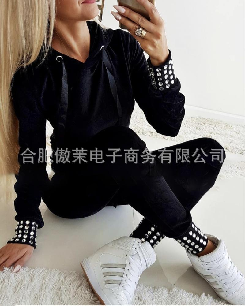 Long Sleeve Tracksuit Women Stripe Running Set Winter Fall Jogging Sweat Pants Sportswear Female Sport Suits Hoodies
