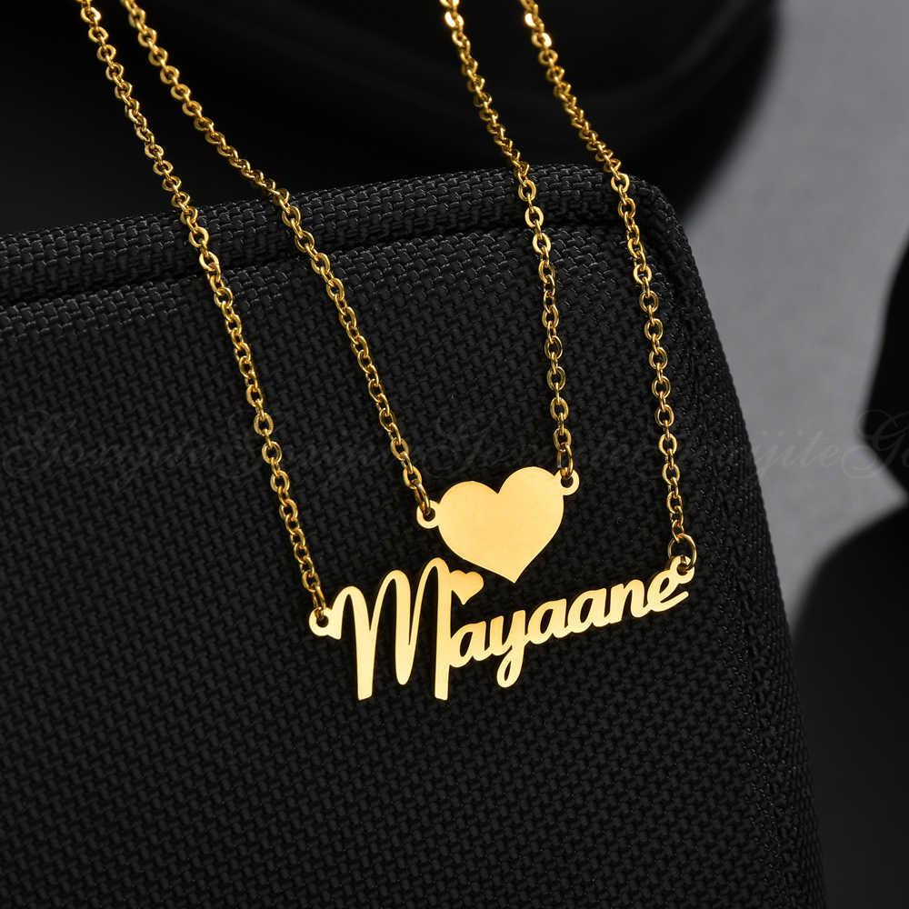 Goxijite ファッション二重層ネームネックレス女性カスタムジュエリーのためパーソナライズハート名ペンダントネックレスの恋人のギフト