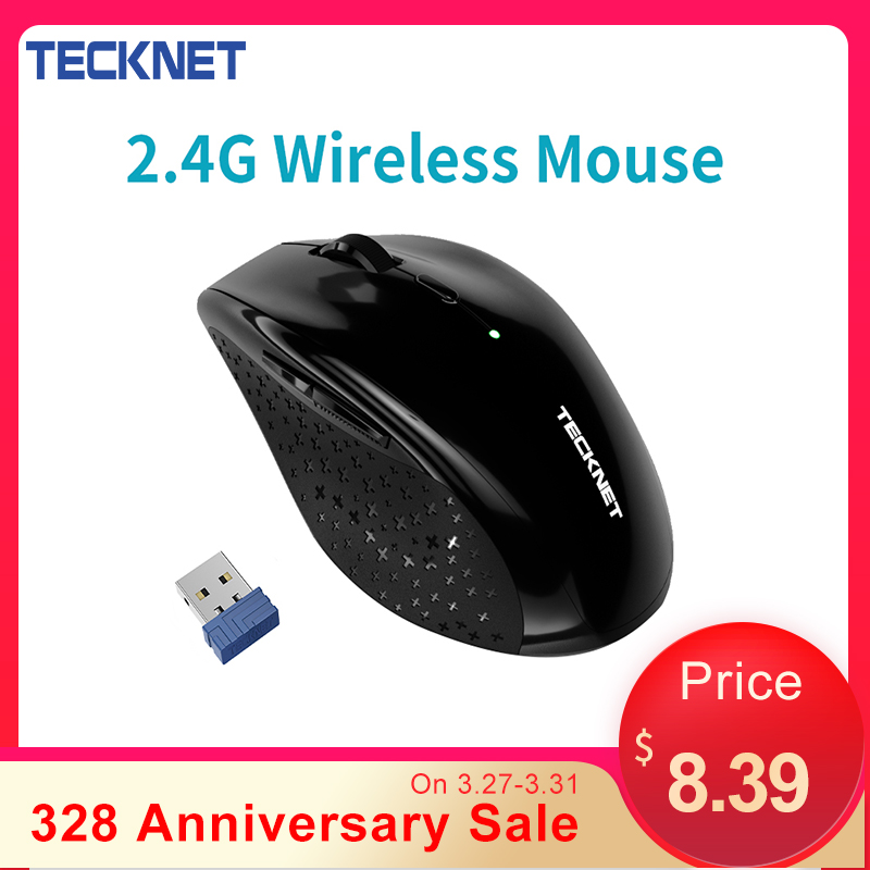 TeckNet USB Optical Wireless Mouse 2.4G Receiver 4800DPI Adjustable USB 2.0 Computer Mouse Ergonomic Mice For Laptop PC Mouse