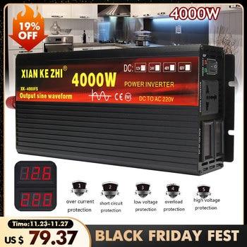 Car Inverter 12V 220V 2000/3000/4000W Voltage transformer Pure Sine Wave Power Inverter DC12V to AC 220V Converter 2 LED Display sunyima inverter dc12v 24v 36v 48v 60v to ac1000 2000 2800 3600 4000w pure sine wave high power frequency inverters transformer