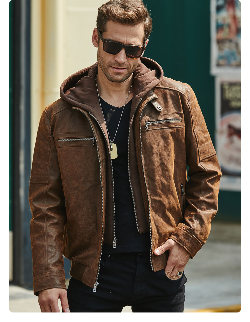 H7eeac5db68fb4a07a89ef39adbe7b26eU New Men's Leather Jacket, Brown Jacket Made Of Genuine Leather With A Removable Hood, Warm Leather Jacket For Men For The Winter