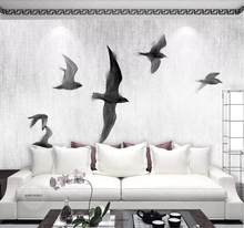 CJSIR Custom Wallpaper Chinese Style Hand-painted Geese Flying Birds Black and White Nordic Sofa TV Background 3d Wallpaper(China)