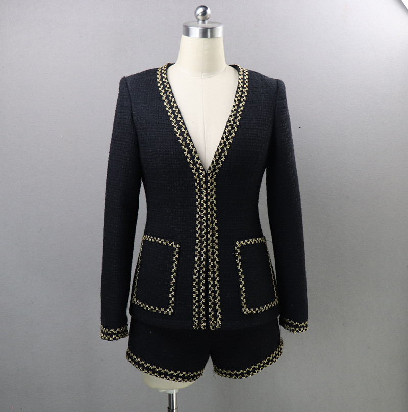 Autumn Winter Tweed Shorts Sets Women Long Sleeve Suit Jacket Coat Blazer 2 Piece Wool Runway High Quality Black Ladies Clothes