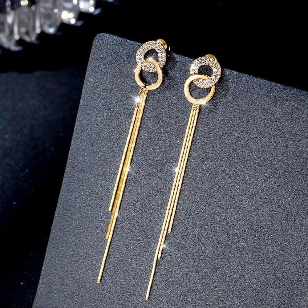Simple Double Circle Long Tassel Earrings for Women Elegant CZ Gem Pendant Fashion Party Wedding Korean Jewelry Brincos 2020