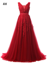 2019 Elegant A-line Lace Tulle Prom Dresses Beaded Lace Up Long Formal Evening Dress Party Gown Vestidos De Gala BM84 цена и фото