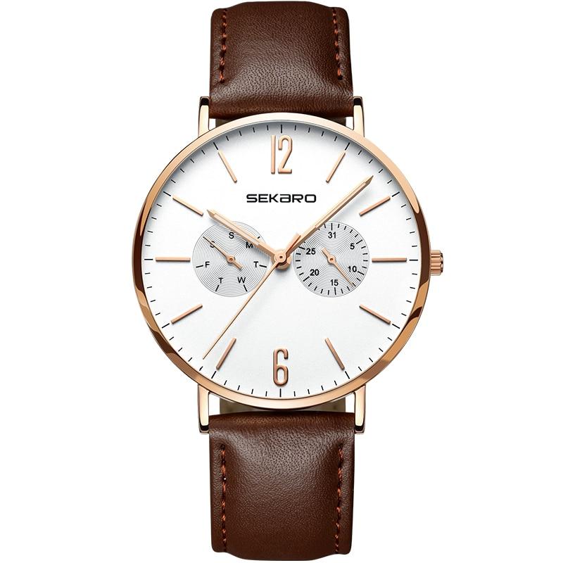 SEKARO 2806 suisse montres hommes de luxe marque Ultra mince horloge hommes hommes poignet affaires Calenda montre Relogio Masculino