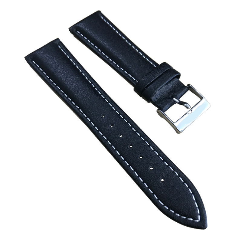 22mm (Buckle18mm) T039417 Hochwertige silberne Schnalle + schwarzes echtes Leder Uhrenarmband Armband Kostenloser Versand
