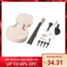 DIY 4/4 полный размер скрипичный набор из натурального массива дерева акустическая скрипка с эквалайзером ель Топ клен назад шеи гриф задняя часть