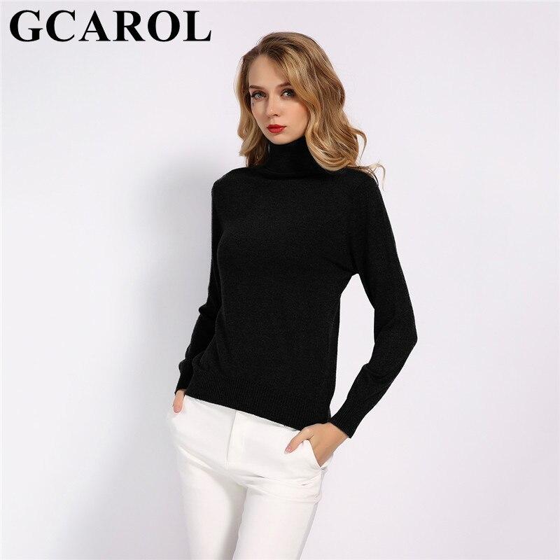 GCAROL New Fall Winter 30 Wool Turtleneck Sweater Soft Handle Warm Women Jumper OL Render Knit