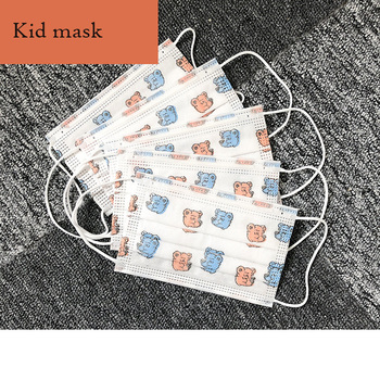 50 Pcs Children Kid Mask 3 Layers No-woven Breathable Drustproof Girls Boys Print Disposable Masks Face Protection Warm Mask