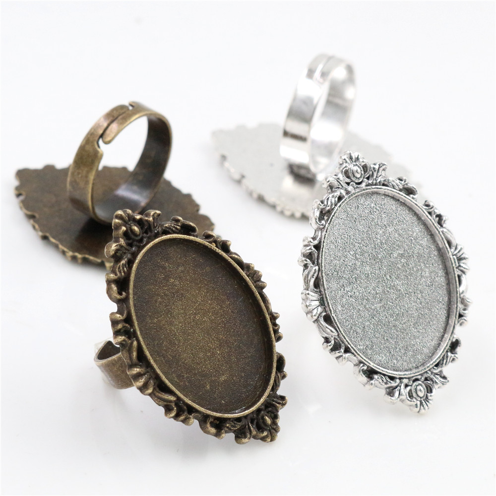 18x25mm 5pcs Antique Bronze And Silver Plated Brass Oval Adjustable Ring Settings Blank/Base,Fit 18x25mm Glass Cabochons