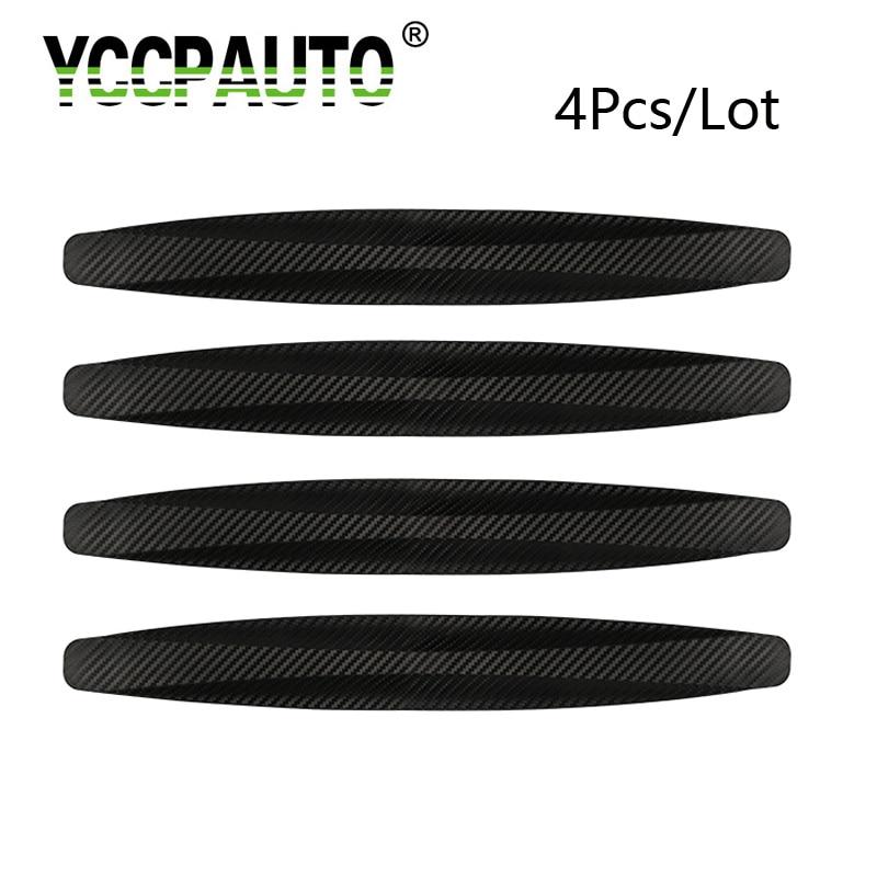 Protector de parachoques 2 piezas de fibra de carbono delantera y trasera Protector de parachoques Protector de esquina Etiqueta rayada en negro