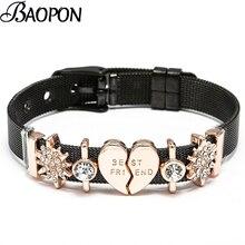 BAOPON BEST FRIEND Charms Black Mesh Men Bracelets Bangles F