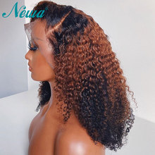 Newa Hair 13x6 Curly Lace Front Human Hair Wigs Pre Plucked Ombre Lace Front Wigs Short Bob Wigs Brazilian Remy Lace Frontal Wig
