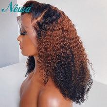 Newa Hair pelucas de cabello humano rizado con malla Frontal, prearrancadas, Ombre, Bob corto, brasileño, Remy