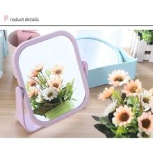 Зеркало для макияжа в форме сердца, вращающаяся настольная подставка, компактное зеркало, пластиковый комод, розовые, синие, бежевые зеркала, косметический инструмент