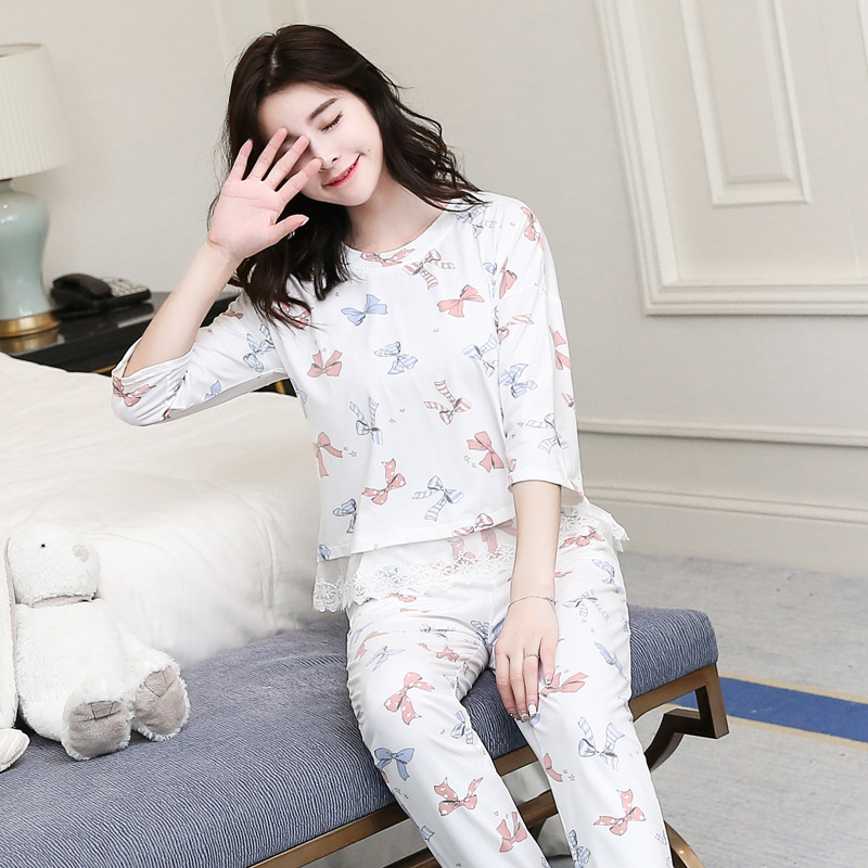 Spring And Autumn Pajamas Women's Three-quarter-length Sleeve Trousers Pajamas Home Two-Piece Set Students-Outer Wear Fresh Casu
