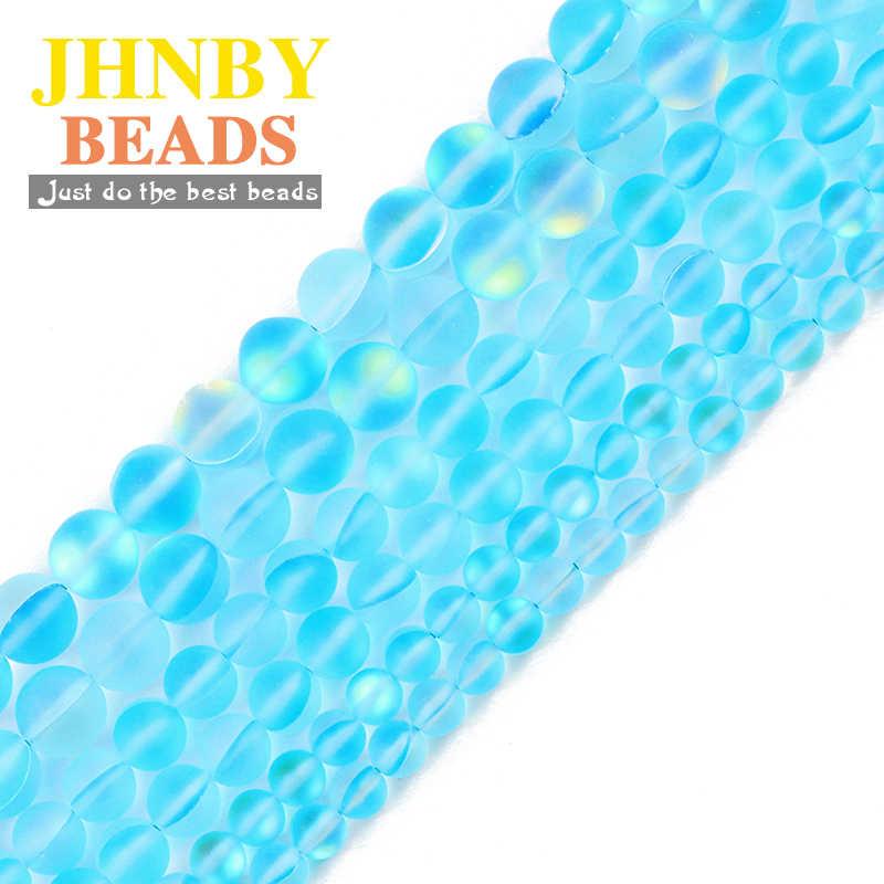 JHNBY piedra brillante Natural mate lago Azul labradorita 6/8/10MM encanto espaciadores redondas cuentas sueltas para fabricación de joyería DIY pulsera