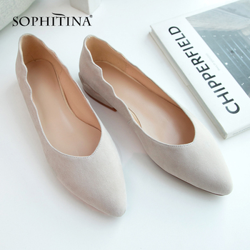 SOPHITINA Office Fashion Flats Women' s High Quality Kid Suede Shallow Slip-On Wave Design Shallow Shoes Pointed Toe Flats PO506