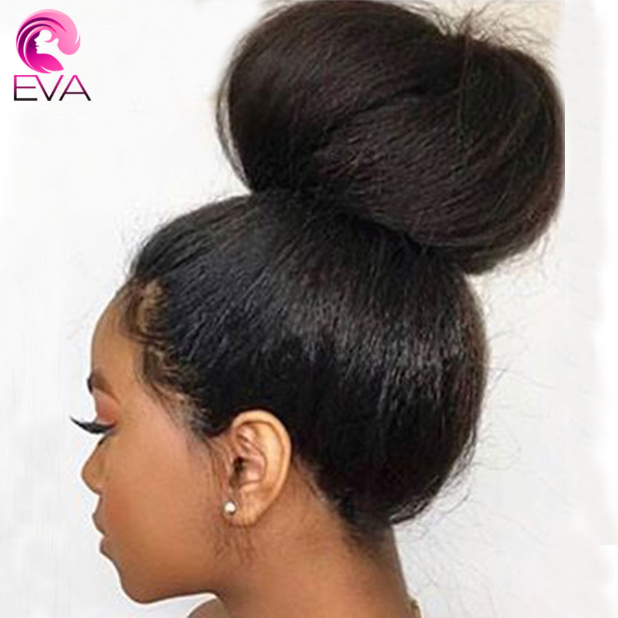 150% Density 13x6 Lace Front Human Hair Wigs Pre Plucked With Baby Hair Brazilian Kinky Straight Lace Front Wigs Eva Remy Hair