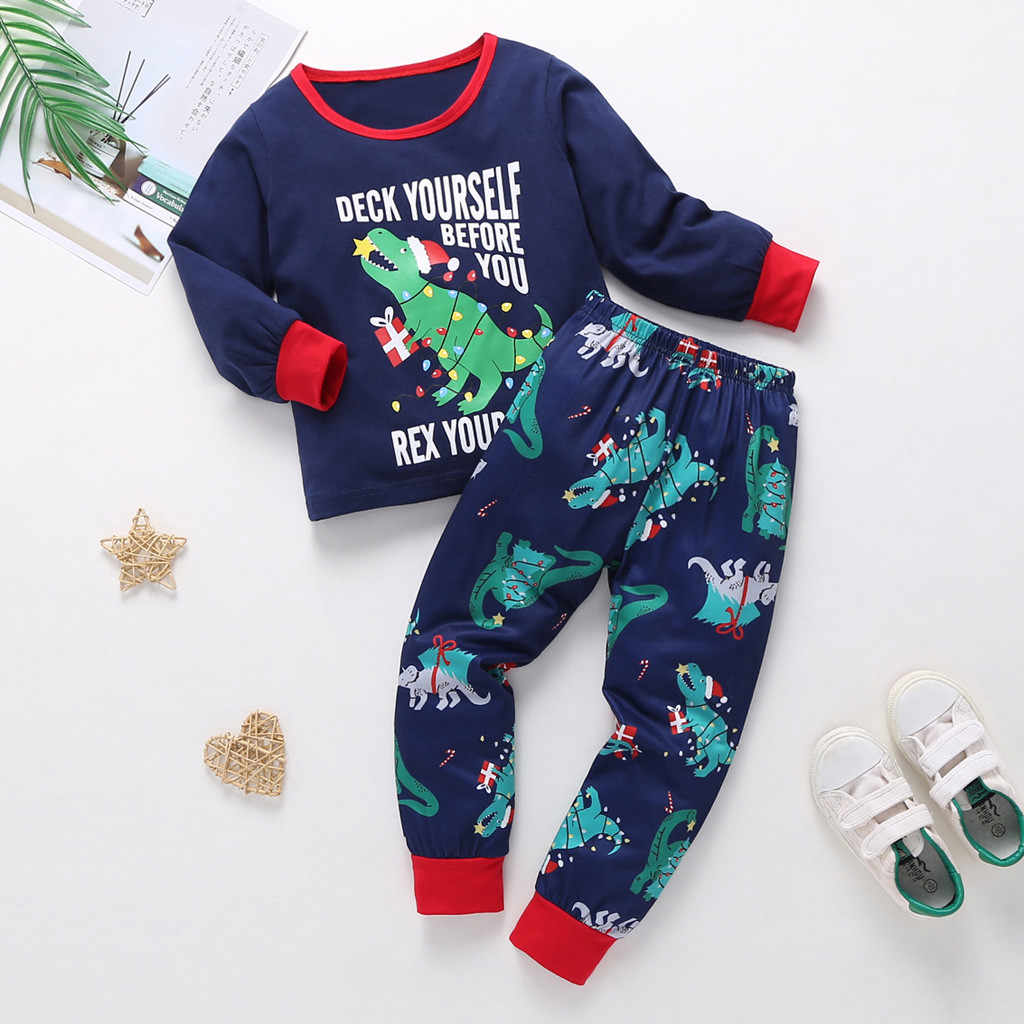 Toddler Kid Cartoon Pajamas Set Baby Boy Girl Sleepwear autumn new Christmas Long Sleeve Tops+ Pants Outfits 9 Month-5 Years