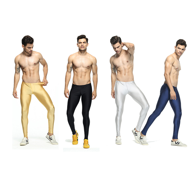 Sexy casual Compress Fitness Long Johns Shapewear Men's Stretch Workout Nylon solid Silver Tights Lounge Pants Home and Out Door 5