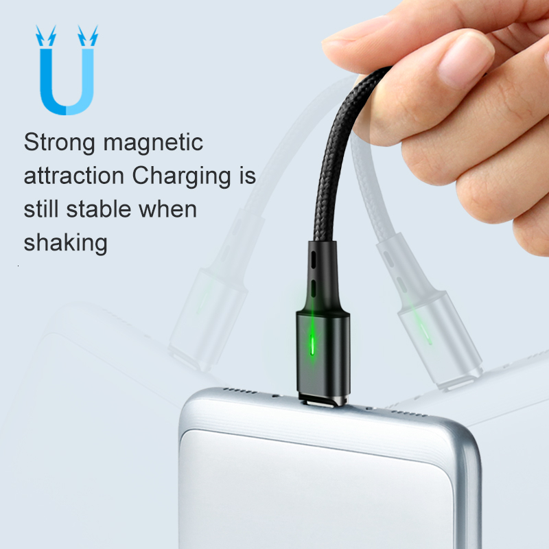 Elough Quick Magnetic Charger 3.0 4.0 Micro USB Cable for iPhone Samsung Xiaomi Fast Magnetic Phone Charging Cord Type C Cable 4