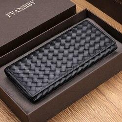 Мужской Длинный кошелек BV, роскошный брендовый тканый кошелек из 100% коровьей кожи, Простой Модный деловой ультратонкий кошелек