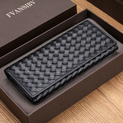 BV Men Long Wallet Leather Luxury Brand 100% Baby Cow Leather Woven Clutch Bag Fashion Simple Business billfold  Ultra-Thin New