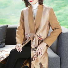 2018 Autumn And Winter New Style Retro Real Silk Organza Plum Printed Joint Long Sleeve Double-Sided Wool Duffle Coat(China)