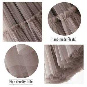 Image 5 - Treutoyeu Vintage Gothic Black White Pleated Long Tulle Skirt Tutu Femme High Waisted Runway Soft Mesh Skirts Womens 2020 Winter