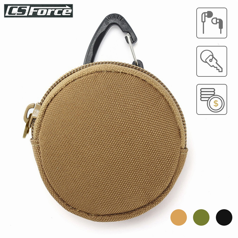 900D Tactical Mini EDC Pouch With Hook Key Coin Earphone Sundries Bag Wallet Key Pouch Hunting Hiking Camping Small Pocket Nylon
