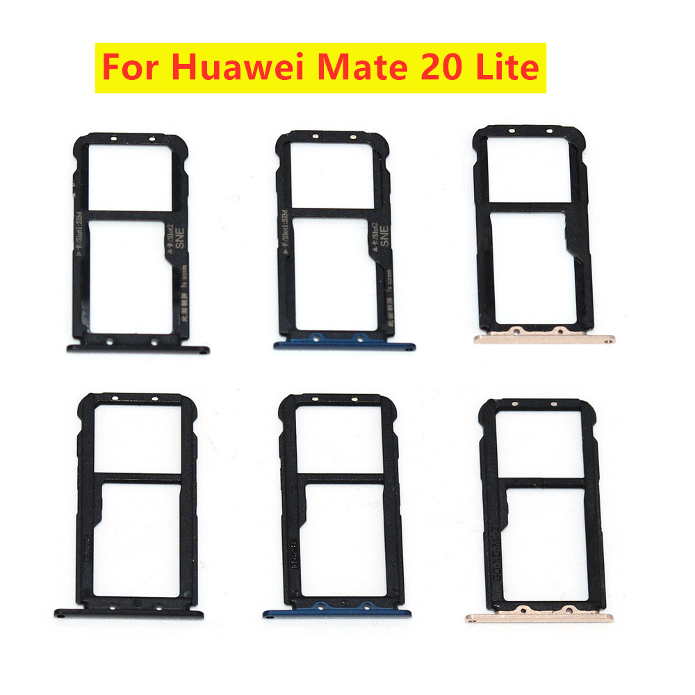 Black Blue Gold New For Huawei Mate 20 Lite Micro Sim Card Holder Slot Tray Replacement Adapters
