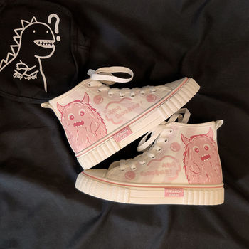 lolita women s shoes ulzzang harajuku kawaii lolita shoes korean shoes vintage sweet bow cosplay low heel women shoes white pink Kawaii Lolita Shoes Women's Sneakers Pink Vintage Women's Flat Shoes Casual Woman Vulcanize Shoes Cute Girls White Shoes